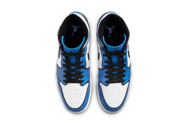 air michael jordan brand 1 mid signal blue white black
