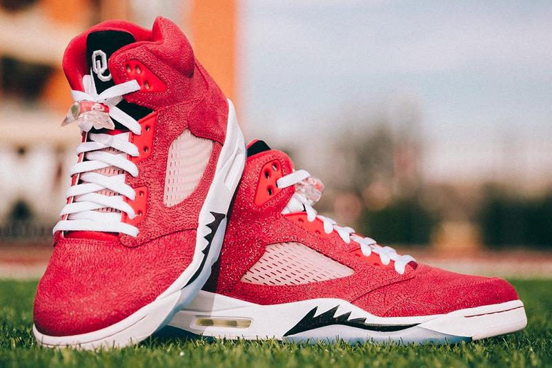 air michael jordan brand 5 oklahoma sooners football pe player edition lincoln riley official release date info photos price store list buying guide