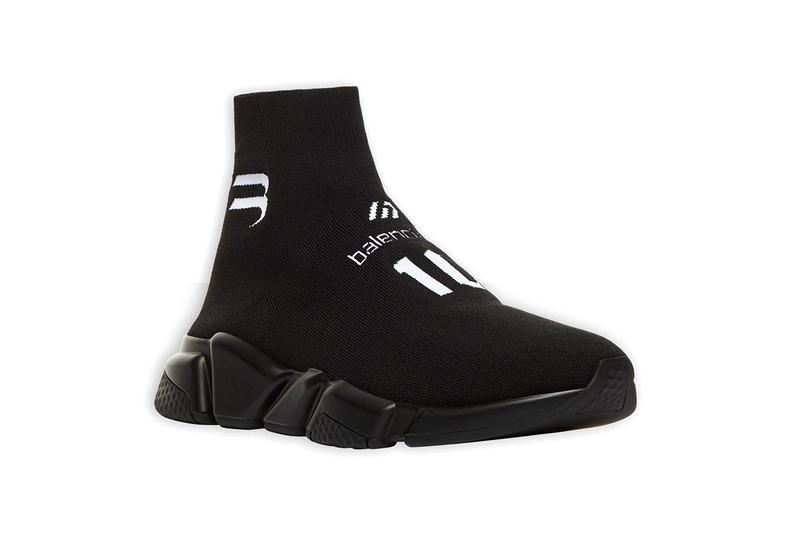 balenciaga speed trainer sneaker black white graphic release info date photos store list buying guide