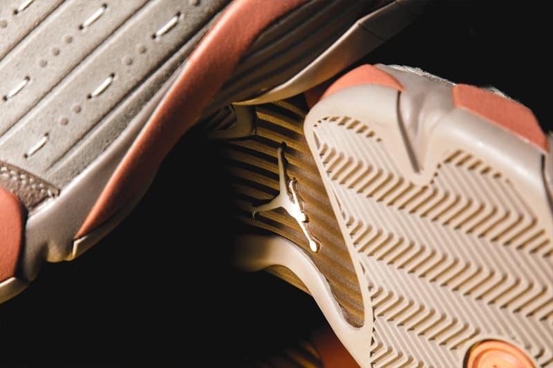 CLOT Air Jordan Retro 14 35 Low SP Closer Look Release Info terracotta warrior jade DC9857-200 DD9322-200 Edison Chen Kevin Poon Buy Price Sepia Stone Terra Blush Metallic Gold Desert Sand