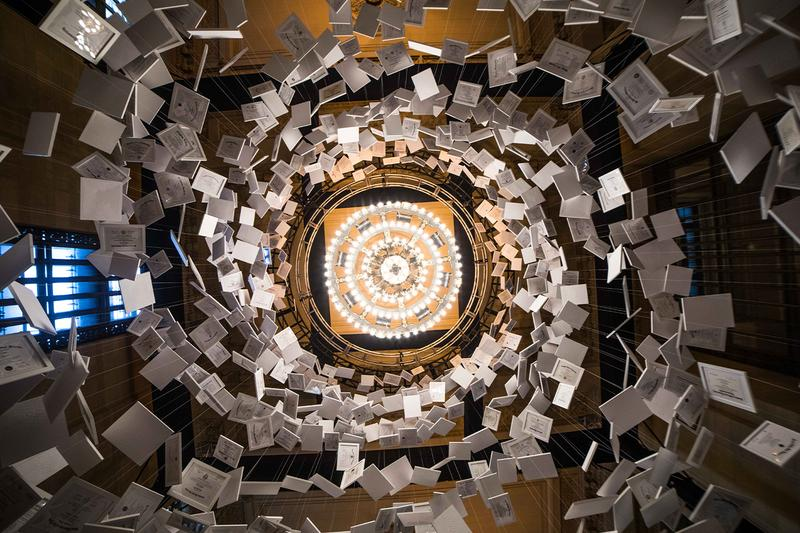 Da Vinci of Debt 470 Million USD Worlds Most Expensive Artwork installation new york city grand central terminal vanderbolt hall daniel blake info