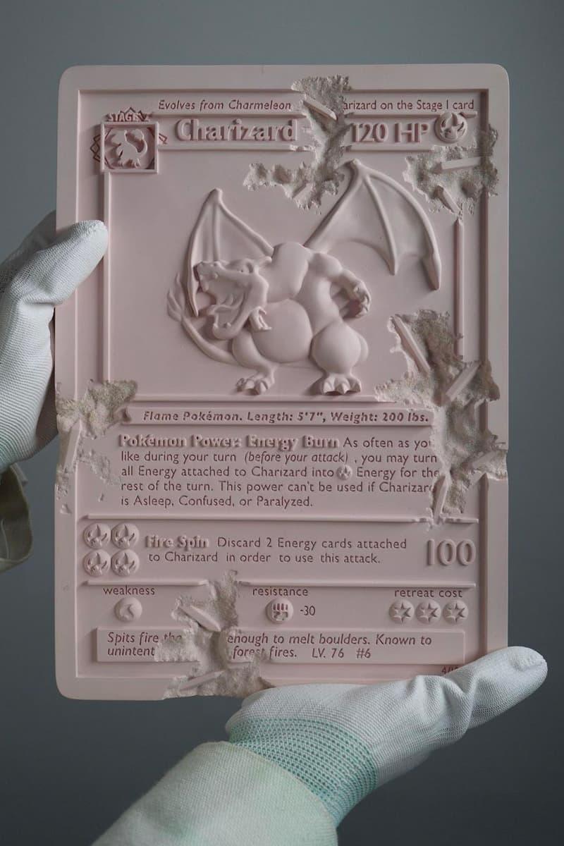 Daniel Arsham PINK CRYSTALIZED CHARIZARD CARD Release Pokemon Gamefreak Nintendo artwork resin Crystal Arsham Studios 1st edition