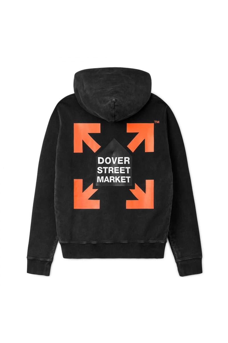 Dover Street Market x Off-White™ Hoodie Hooded Sweatshirt Collection Virgil Abloh Blue Green Orange Yellow Pink Black Vintage Effect Distressed DSM London
