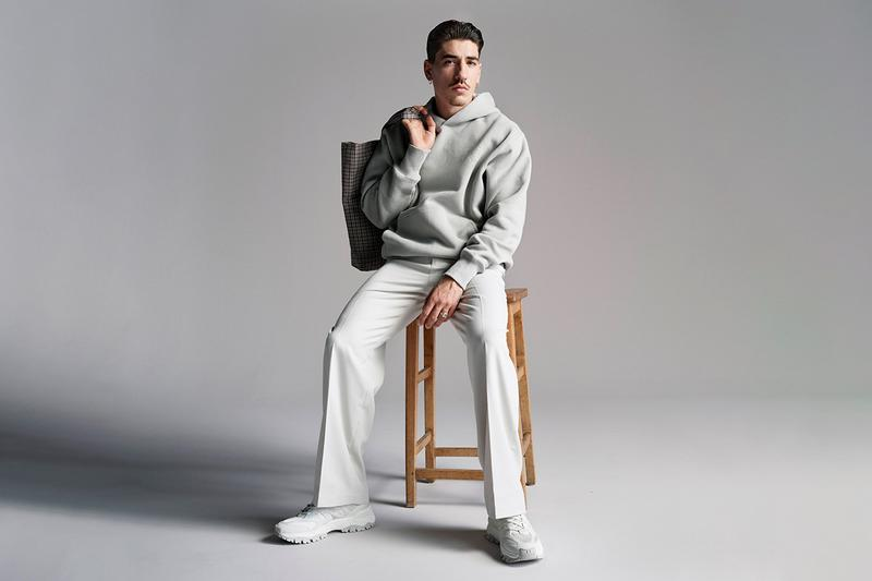 hector bellerin hm menswear collection release info store list price buying guide photos trousers pants hoodie bucket hat tote bag windbreaker shirt button up tee tank top jacket blazer 5 panel plaid denim arsenal fc