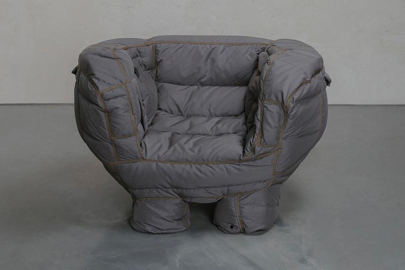 jin yeong yeon Padded chair recycled quilted goose down furniture design designer jacket artist seoul south korean shirter info