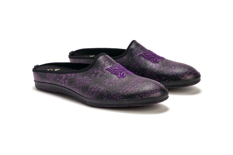 """NEEDLES Papillon PVC Mule """"Black/Purple"""" Butterfly Mules Slip On Shoes Sneakers HBX Japanese Japan Brand Keizo Shimizu Release Information Drop Date Closer First Look FW20 Fall Winter 2020"""