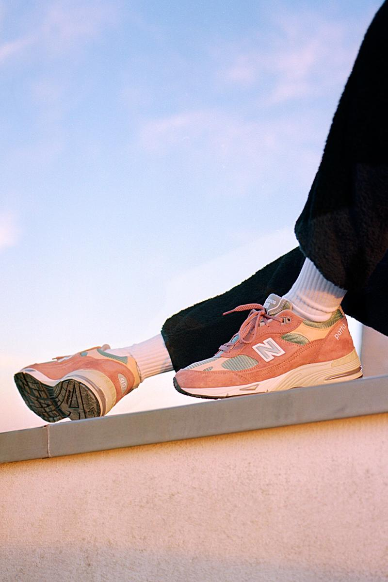 Patta new balance 991 sneaker release information peach cork light petrol release information