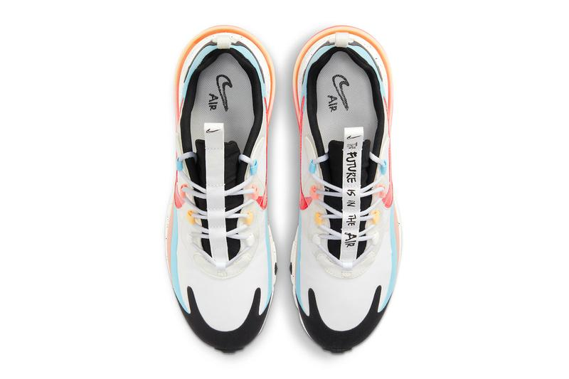 nike Air Max 270 react Infrared Summit White The Future is in the Air dd8498 161 info menswear streetwear shoes sneakers runners trainers kicks fw20 fall winter 2020 collection