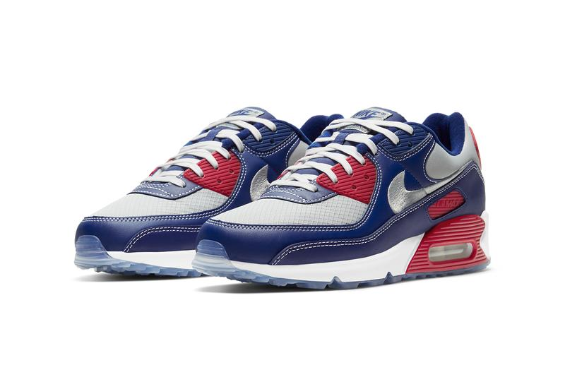 nike sportswear air max 90 pirate radio white metallic gold deep royal blue red silver CW4070 DD8457 100 400 official release date info photos price store list buying guide