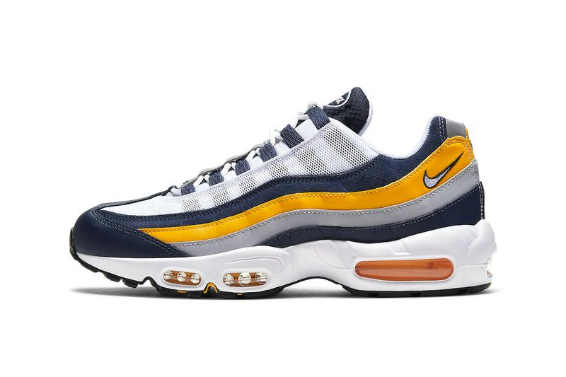 Nike Air Max 95 Michigan White Navy University Gold Release CZ0191-400 Info Date Buy Price