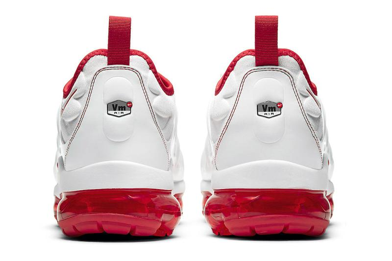 Nike Air VaporMax Plus White and University Red Varsity Classic Sneakers
