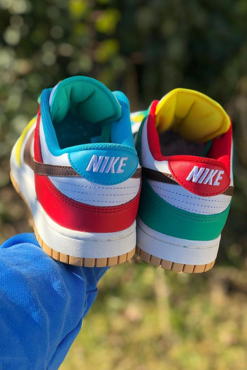 nike sportswear dunk low free 99 white teal yellow brown red blue gum dh0952 100 official release date info photos price store list buying guide
