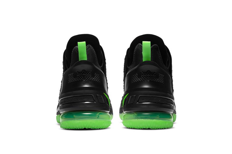 nike lebron 18 dunkman CQ9284 005 release info black electric green photos store list buying guide lebron james