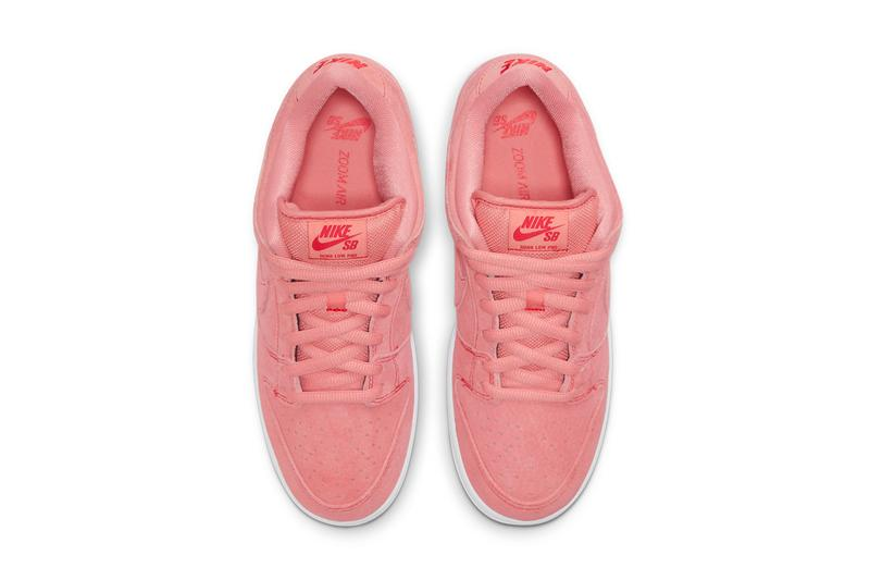 nike sb skateboarding dunk low pink pig CV1655 600 red black white official release date info photos price store list buying guide