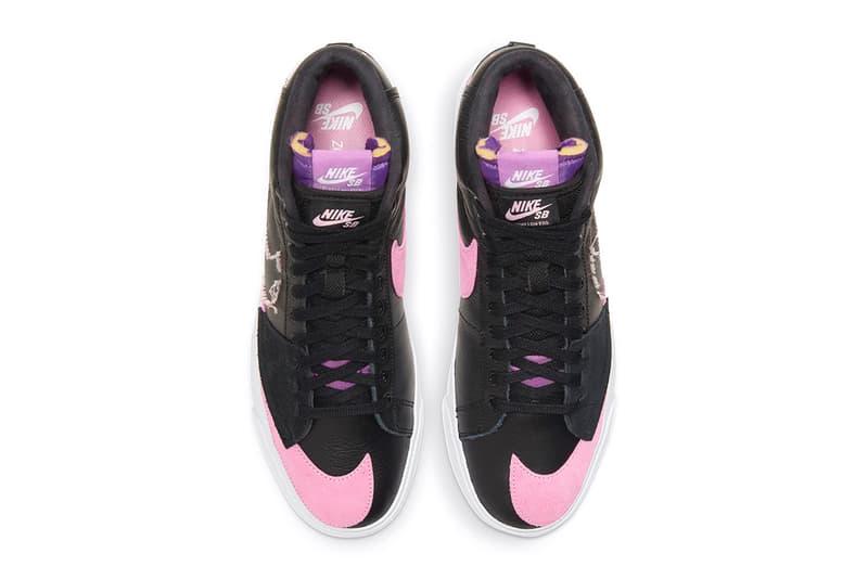 Nike, SB, Nike SB, Skateboarding, Blazer, Pink, Purple, Black, Leather, Suede, Basketball, DIY, Deconstructed, Double Tongue, Double Lace,