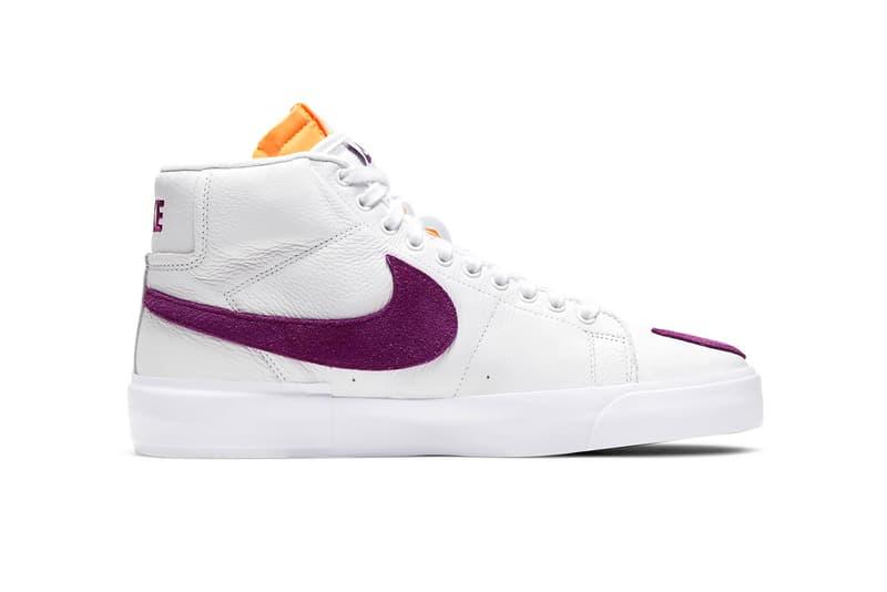 "Nike SB Zoom Blazer Mid Edge ""White/Viotech"" DA2189-100 DIY Sneaker Skateboarding Basketball Shoe Footwear Trainer Release Information Drop Date Closer First Look Torn Worn Wear Away Deconstructed"