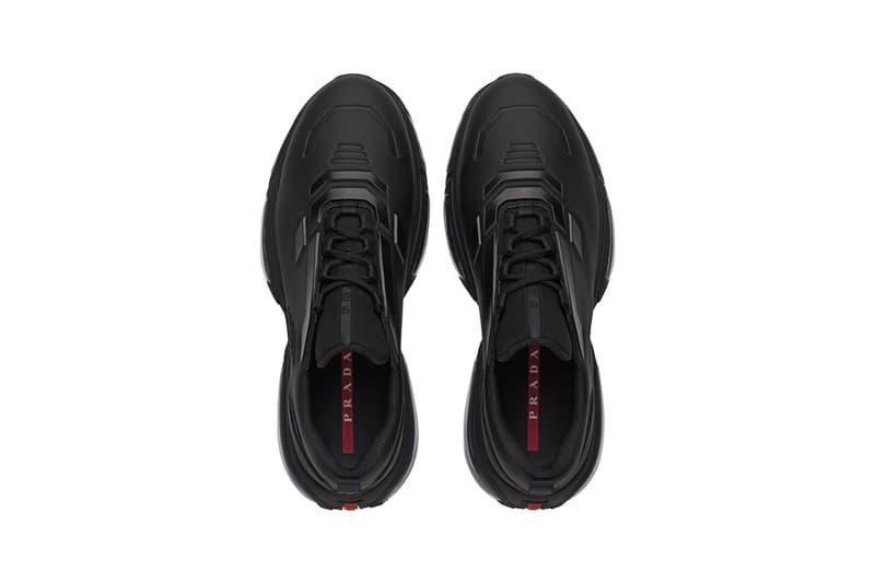 Prada Linea Rossa Collision Technical Fabric Sneakers Black White Steel Gray Made in Italy Shoe Trainer Retro Tech Air Bubbles Sole Unit Chunky AM95 Designer Luxury