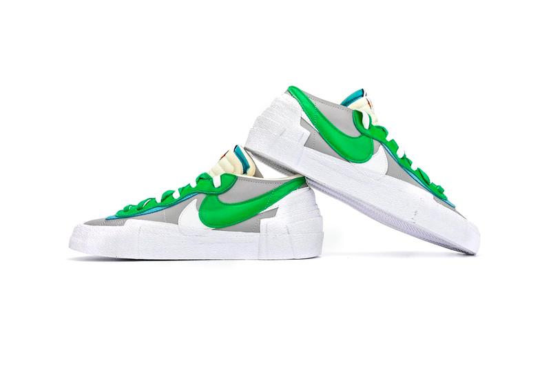 sacai Nike Blazer Low Classic Green Magma Orange Detailed Full Closer Look Release Info DD1877-001 DD1877-100 Date Buy Price Chitose Abe