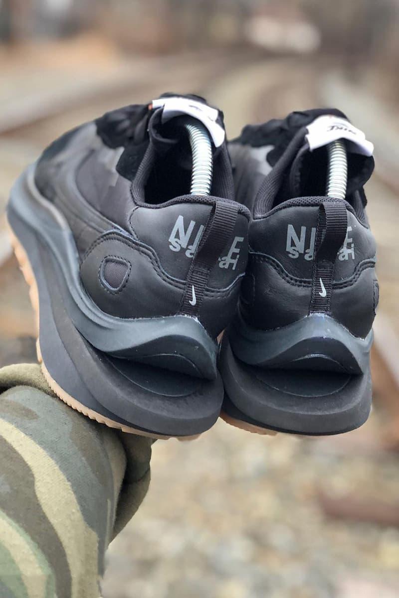 sacai nike vaporwaffle black gum release info photos store list buying guide