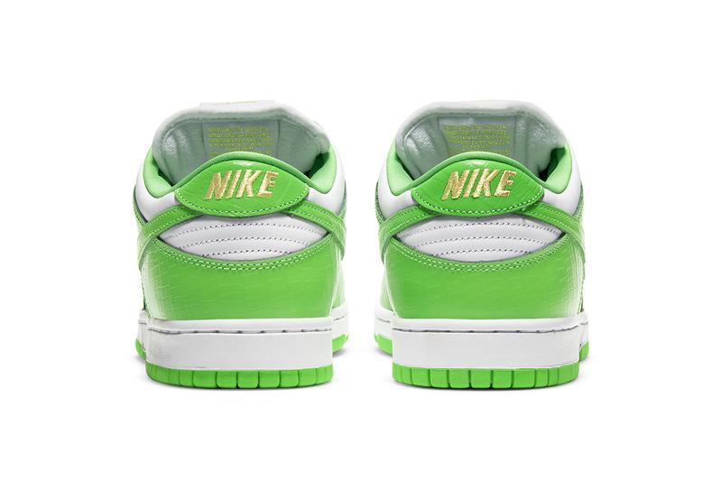 supreme nike sb skateboarding dunk low white gold black mean green DH3228 101 official release date info photos price store list buying guide