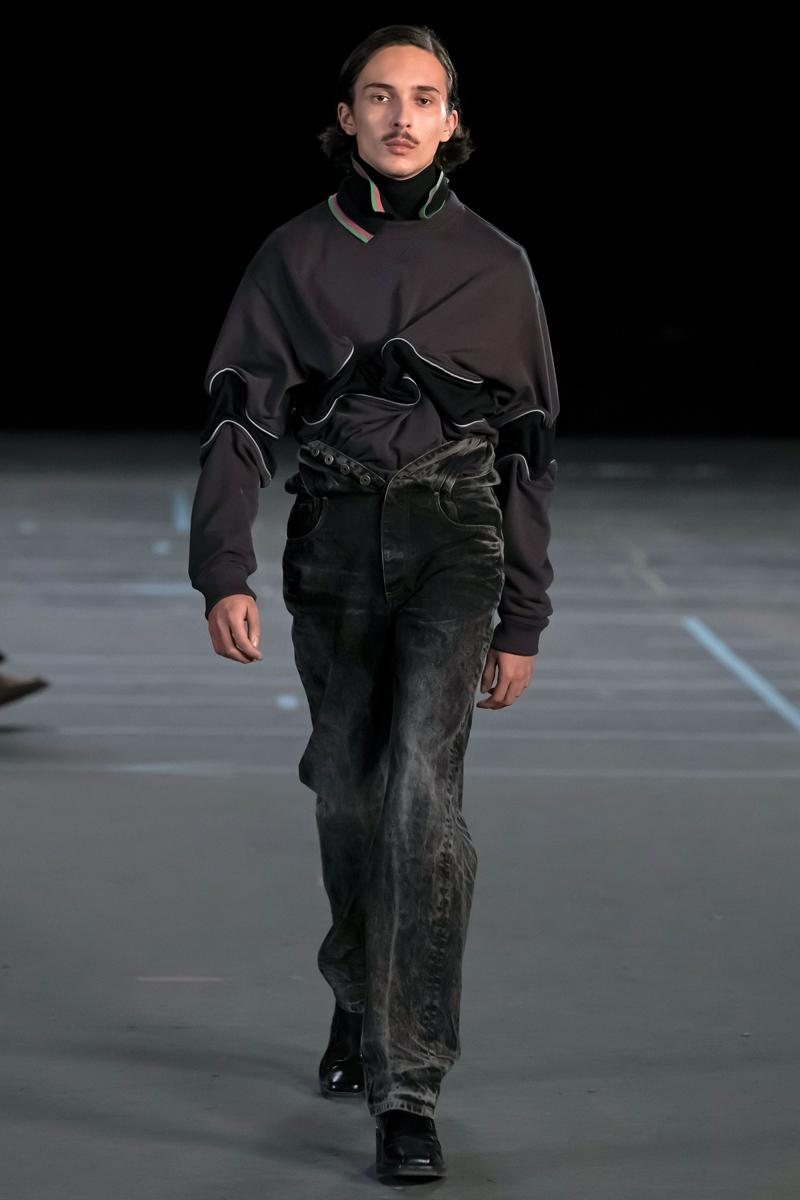 Y/Project FW21 Asymmetry Masterclass Collection Fall Winter 2021 Luxury Fashion Coed Chaos Sportswear Evening Pieces Denim Chaps Leather Jacket Glenn Marten Canada Goose