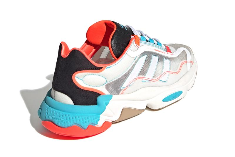 adidas originals ozweego 90s chunky midsole transluscent cyan solar red white black cloud gray uk footwear sneakers trainers running sock like