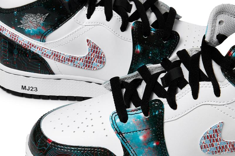 "Air Jordan 1 Mid SE GS ""Take Flight"" WHITE/BRIGHT CRIMSON/BLUE HERO/BLACK BQ6931-114 Kids Shoes Sneaker Printed Swoosh 3D Glasses Theme All Over Print Design Jumpman Footwear Release Information Drop Date Closer First Look"