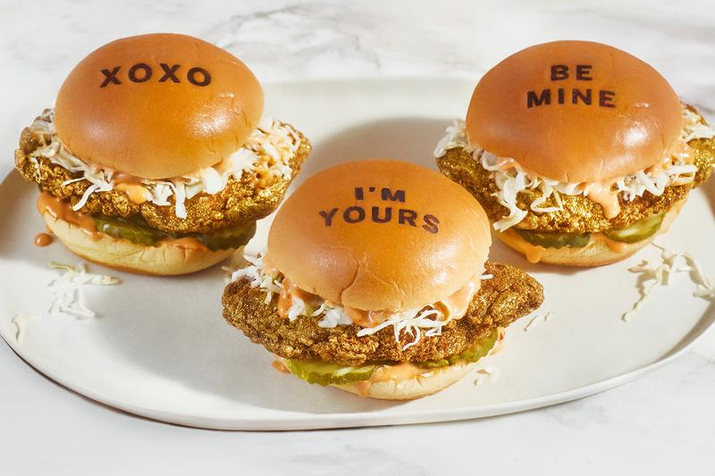 amex uber eats fuku rose gold meal valentines day spicky chicken sandwich knockout bubbly beverage dessert treat card custom love notes