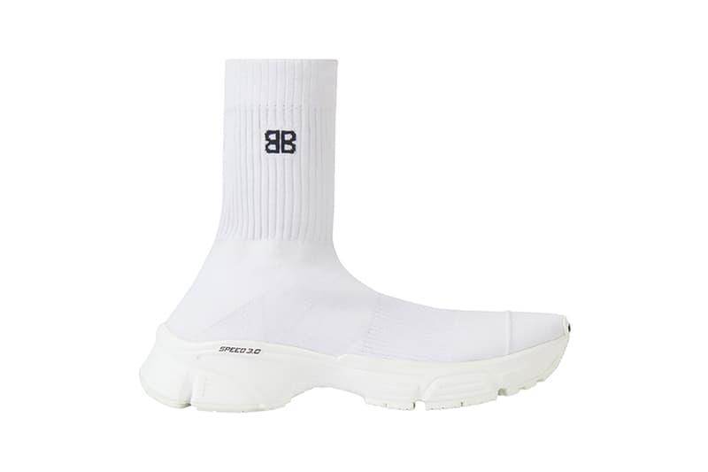 balenciaga speed trainer sneaker footwear sock fit knitted textile upper midsole white black luxury fashion
