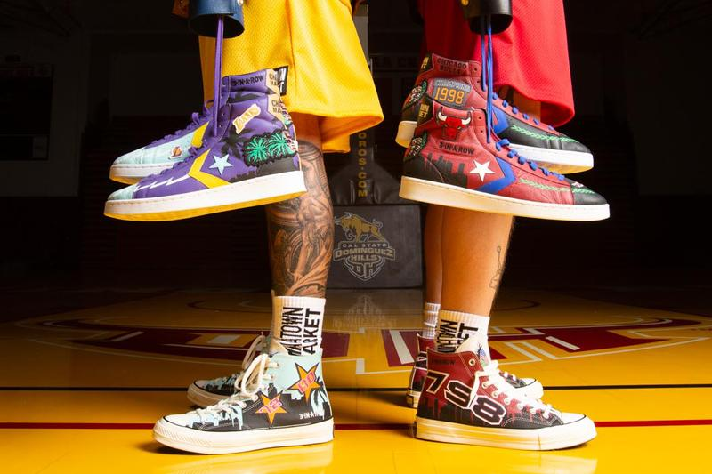 converse chinatown market nba collection jeff hamilton championship jackets chicago bulls los angeles lakers chuck 70 pro leather hi official release date info photos price store list buying guide