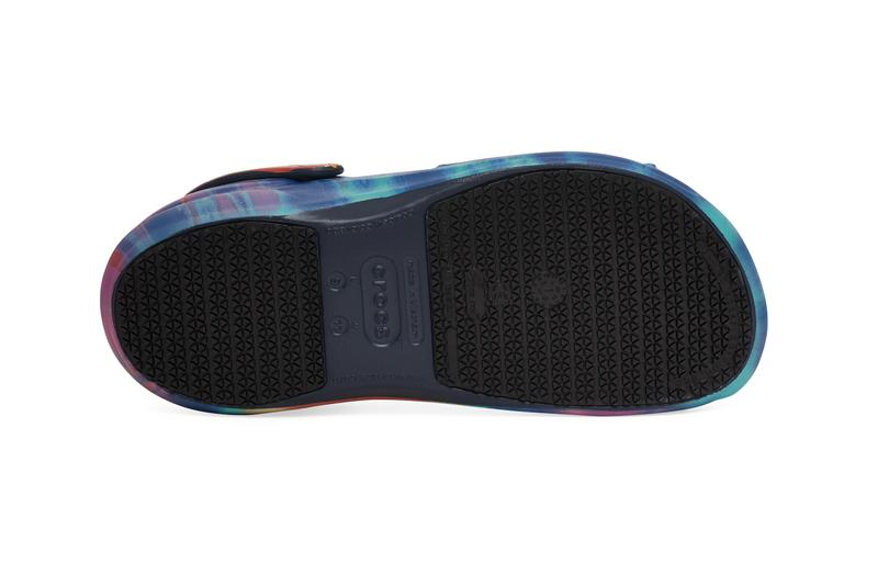 Crocs Bistro Graphic Clogs Navy Tie Dye Print Acid S21CR204044 NAV Guy Fieri Professional Chef Slides Mules Slingback Shoe Design Indoor COVID 19 Coronavirus Pandemic Footwear Trends Styles