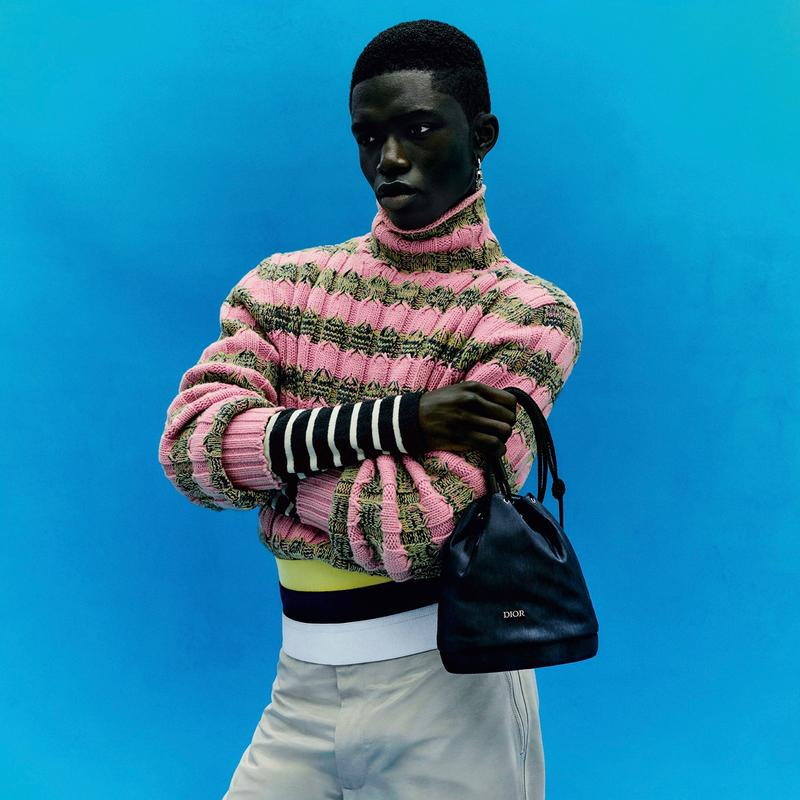 Dior French House Portrait Of An Artist Summer 2021 Kim Jones Amoako Boafo Africa textiles rich cultural history ribbed kints sportswear tailoring Jacquard patterns silhouettes Chris Cunningham London Ghana Jackie Nickerson Rubell Museum textures colors hues blue green yellow shirts sweaters basque berets scarves embrodiery ribbed knits paintings art
