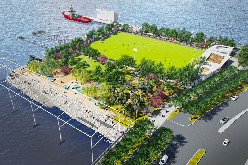 Gansevoort Peninsula Park Manhattan's First Public Beach James Corner Field Operations Hudson River Park Trust Pier 52 Gansevoort Little West 12th streets Battery Park Domino Park High Line New York City NYC