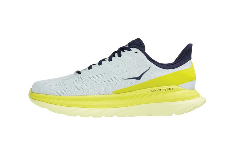 HOKA ONE ONE Mach 4 Sneaker Release Information long run support running trainers white and yellow
