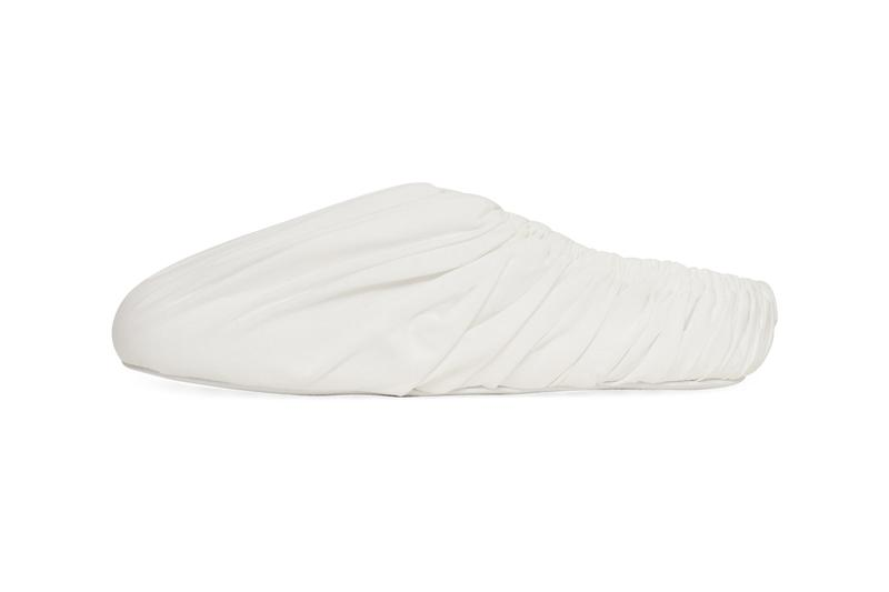 Maison Margiela Surgical Slip-On Mule White Off-White Nylon Upper Cloth Overlay Elasticated Band Round Toe Indoor House Shoe COVID Coronavirus Pandemic Locdown Chic Designer Suede Sole Made in Italy Slam Jam Exclusive Limited Edition