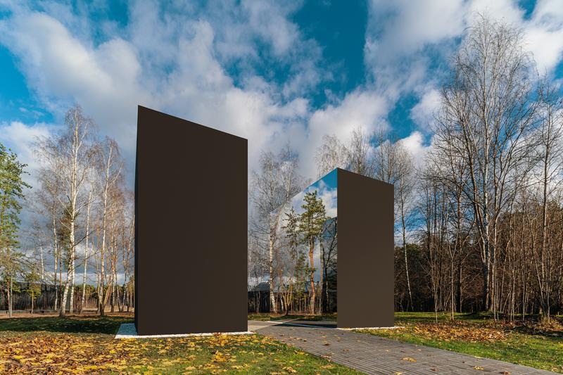 gregory orekhov black square mirrored sculpture moscow malevich park