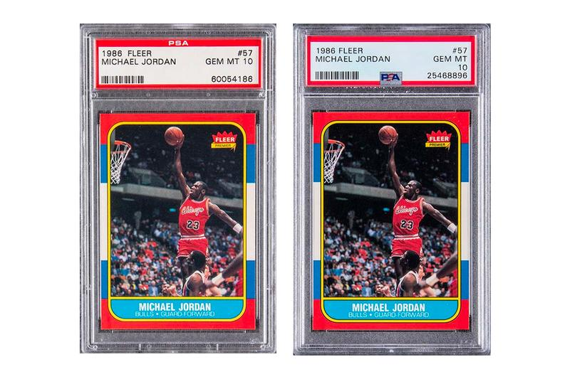 1986 Michael Jordan Rookie Card Auction 738K USD Each Record Setting Record Breaking Chicago Bulls Legendary Icon basketball player NBA Two Pair of trading cards golding auctions beckett grading