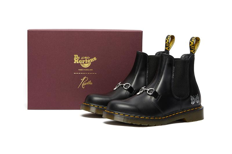 needles doc dr martens 2976 chelsea boot black smooth leather cherry red horsebit release details information