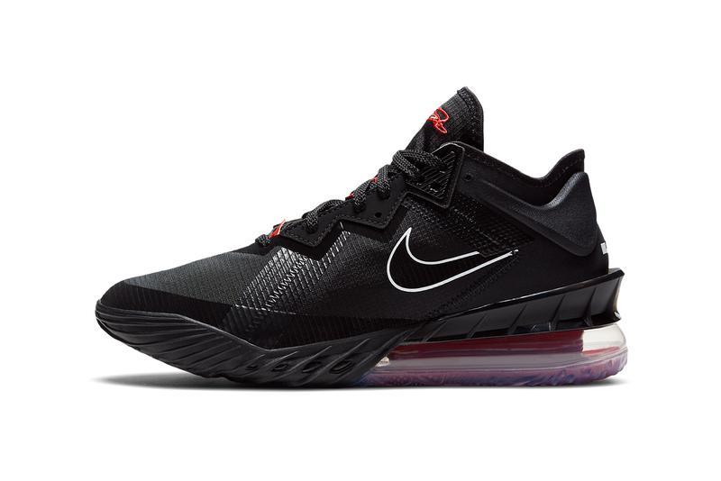 nike basketball lebron james 18 low black white university red CV7562 001 official release date info photos price store list buying guide