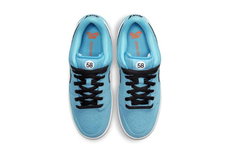 nike sb skateboarding dunk low gulf club 58 blue chill safety orange black white BQ6817 401 official release date info photos price store list buying guide