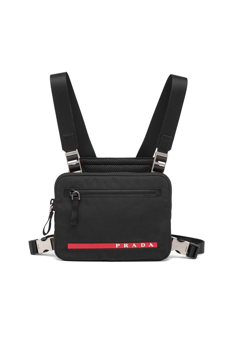 prada crossbody chest rig bag technical functional red Linea Rossa latex label designer luxury fashion streetwear accessories triangle logo