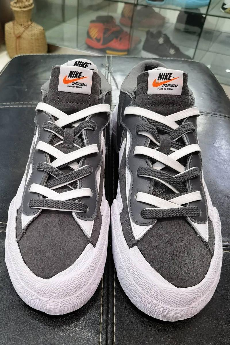 sacai nike sportswear blazer low gray white suede official release date info photos price store list buying gud\ide