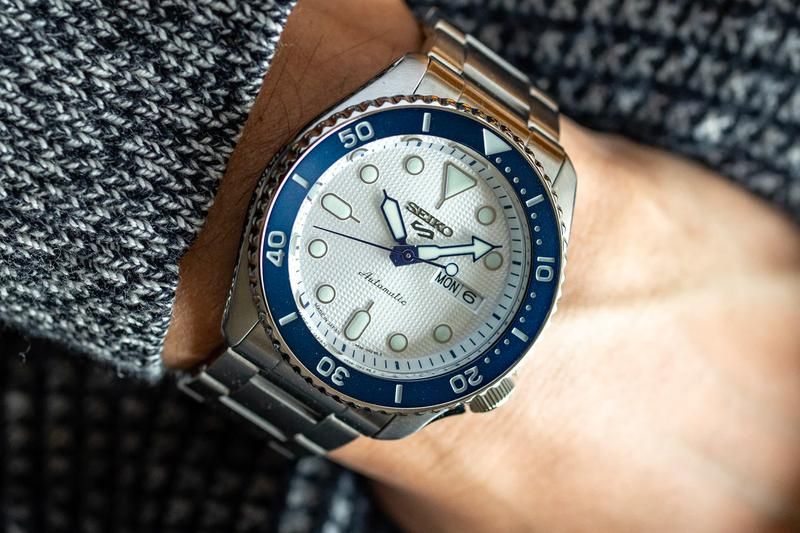 Seiko Readies for Its 140th Anniversary With New SRPG47 Seiko 5 Sports Watch blue snow dial white timepiece wristwatches automatic Japan