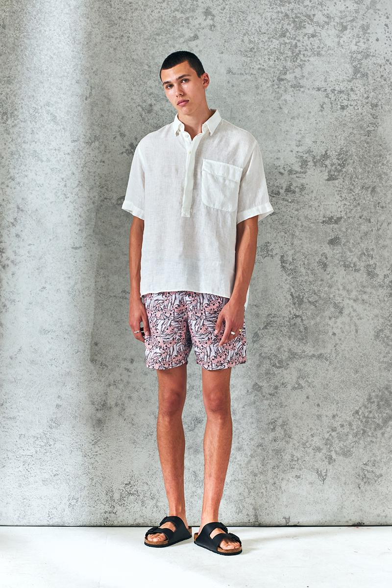 wax london spring summer 2021 sweden minimal london british summer italian relaxed Riviera swim shorts shirts button recycyled sustainable french mill france green energy