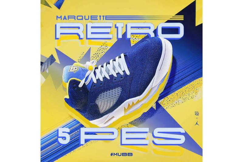 marquette university air michael jordan brand 5 pe player edition basketball blue yellow gold white official release date info photos price store list buying guide