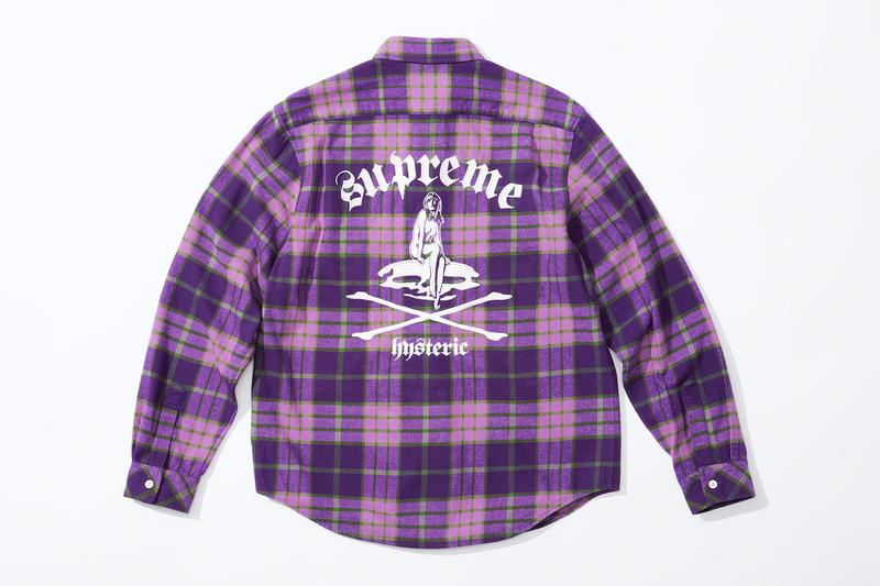 Supreme HYSTERIC GLAMOUR Spring 2021 Collaboration Release Info Date Buy Price Trench Trucker Jacket Track Sweater Flannel Shirt Rayon Painter Pant Shorts Zip Up Sweatshirt Crewneck L/S T-Shirt Crusher Lunchbox Set