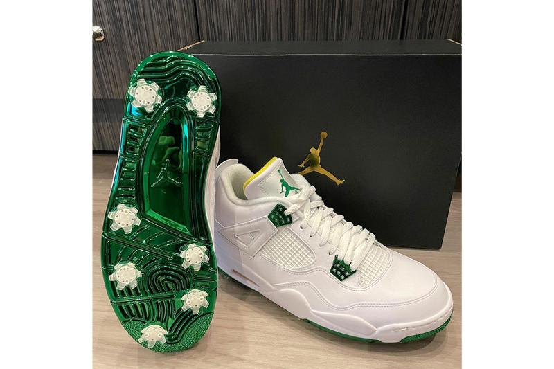 bubba watson air michel jordan brand 4 golf the masters tournament pga white yellow green official release date info photos price store list buying guide