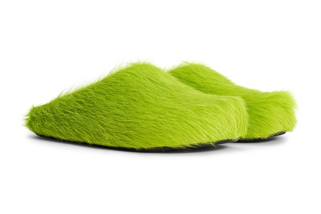 """Marni's Sabot Mule Drops in Grinch-Channeling """"Light Lime"""" Green Fur"""