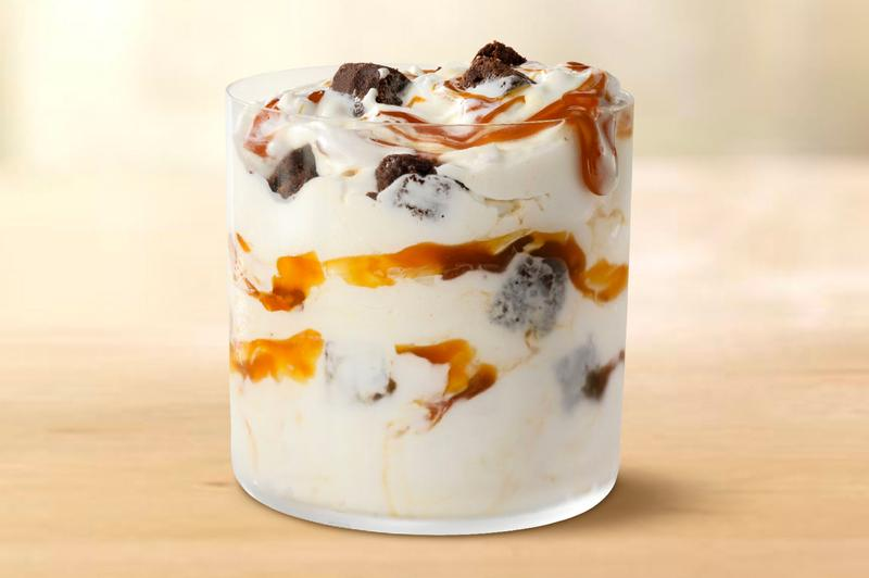 McDonald's Launches New Caramel Brownie McFlurry National Caramel Day Dessert Ice Cream OREO M&Ms Fudgy bronwie pieces