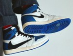 "Take an On-Foot Look At the Travis Scott x fragment x Air Jordan 1 High OG ""Military Blue"""